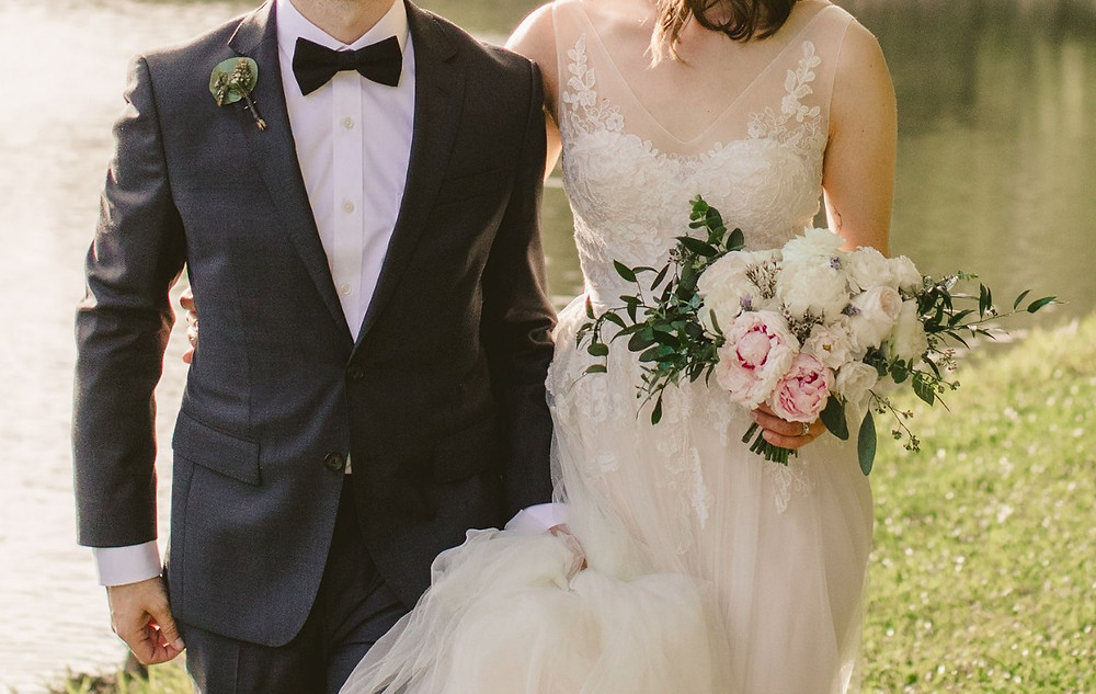 Bride and groom, bridal bouquet, blush and white, peony, peonies, garden roses, boutonniere, tiny wedding