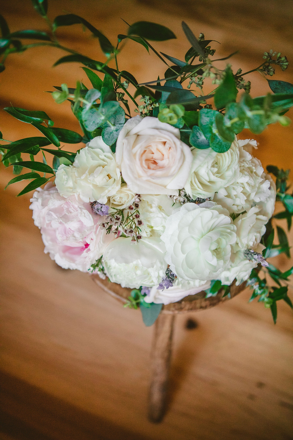 White and blush bridal bouquet with peonies and garden roses, for a tiny wedding in Atlanta, Georgia