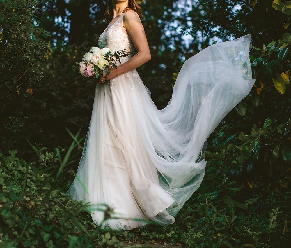 Bride, wedding dress, bridal bouquet, blush and white, peonies, roses, tiny wedding