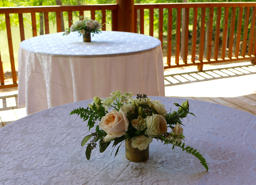 Wedding centerpiece, blush and white, garden roses, fern, tiny wedding