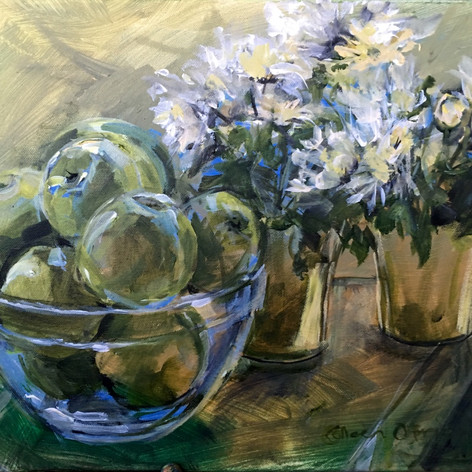 Still Life  APPLES AND DAISIES