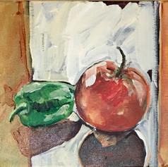 Still Life, Pepper and Apple