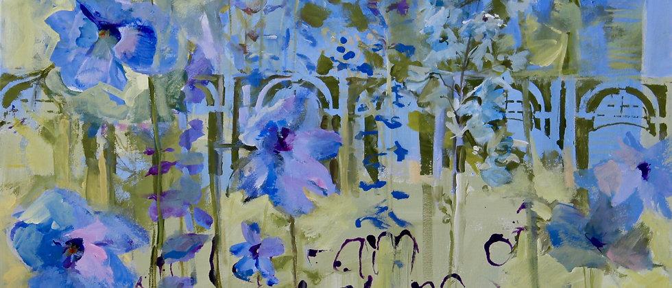 Delphinium with Matisse Quote