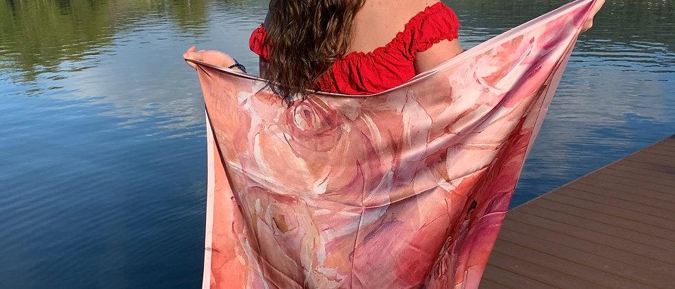 Pink Roses Silk Scarf