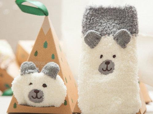 2-Pack Animal Cotton Socks(Bear+Dog)