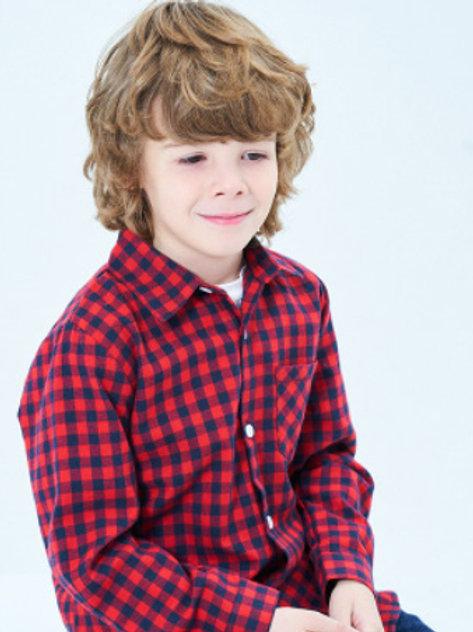 Cotton Plaid Shirt-navy&red