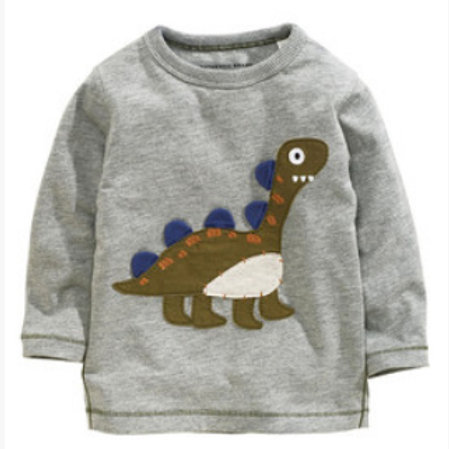 Dino Embroidered Gray Top