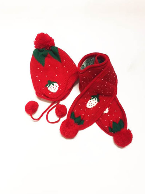 Extra Thick Knitted Strawberry Hat & Scarf Set