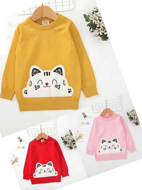 Cashmere Mix Embroiden Cat Jumper