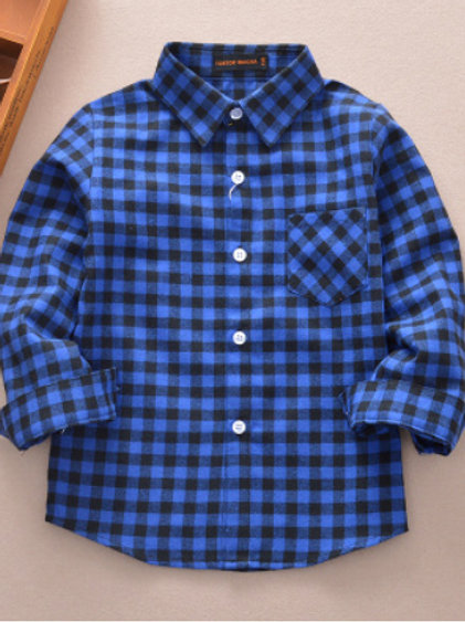 Cotton Plaid Shirt-navy&blue