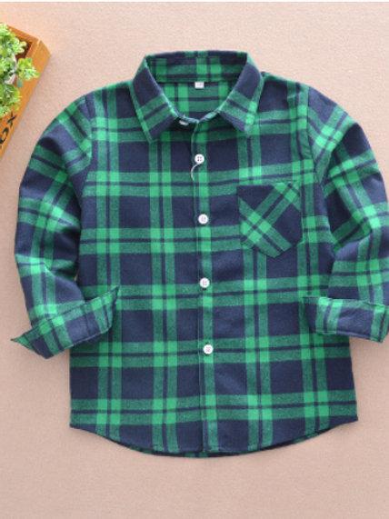 Cotton Plaid Shirt-navy&green