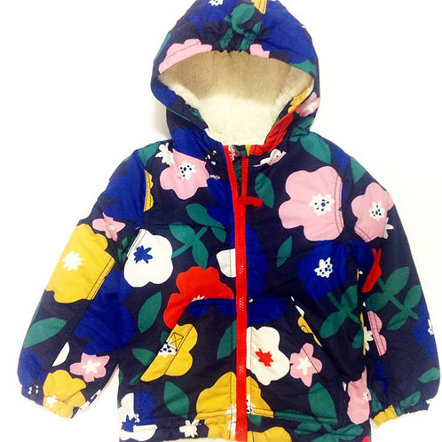 Navy Floral Padded Coat