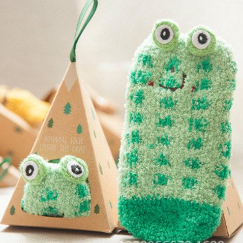 2-Pack Animal Cotton Socks(Monkey+Frog)