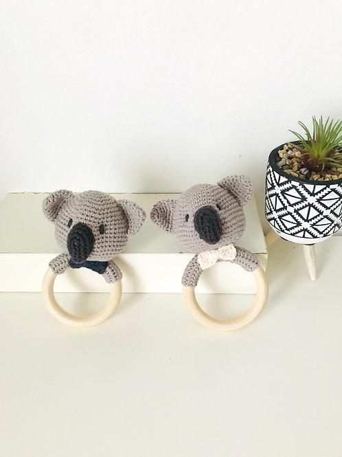 Koala Teething Ring With Rattle