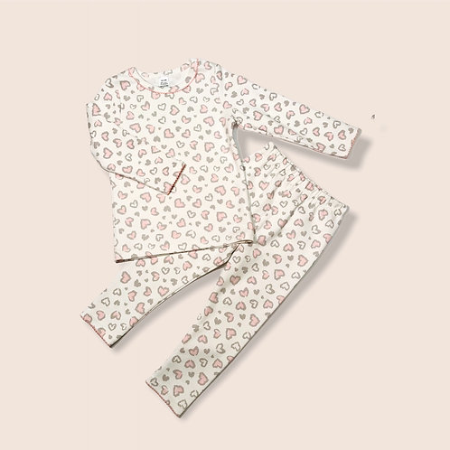 Heart Print Cotton Pajamas