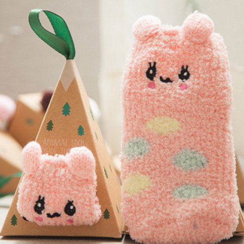 2-Pack Mouses Cotton Socks(pink+brown)