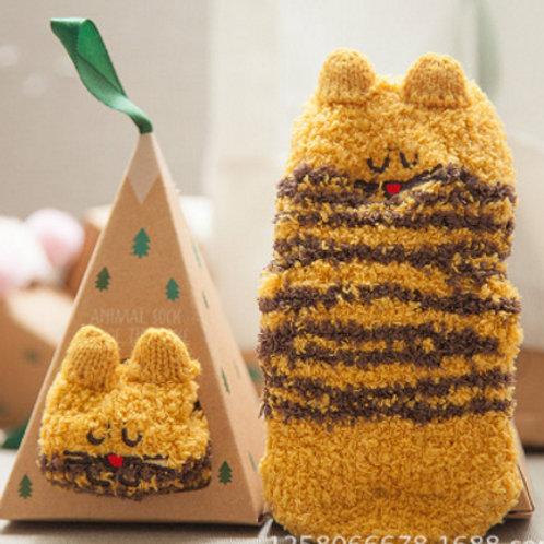 2-Pack Cats Cotton Socks(yellow cat+black cat)