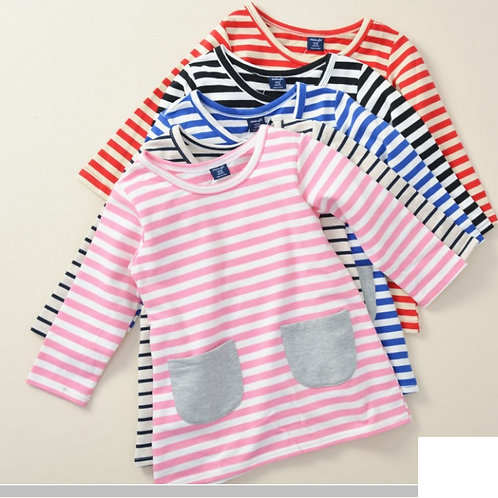 Girl's Contrast Stripe Dress