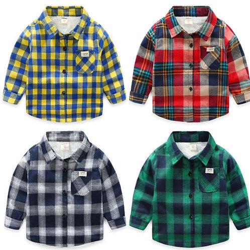 Winter Fleece-lined Plaid Shirt
