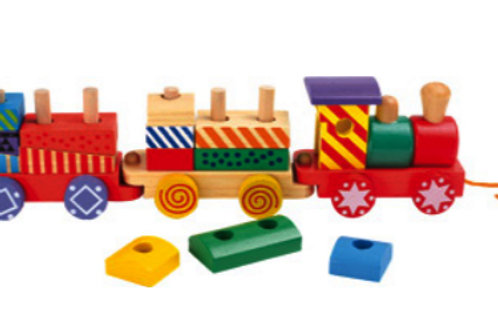 Wooden Train With Blocks Pull-along