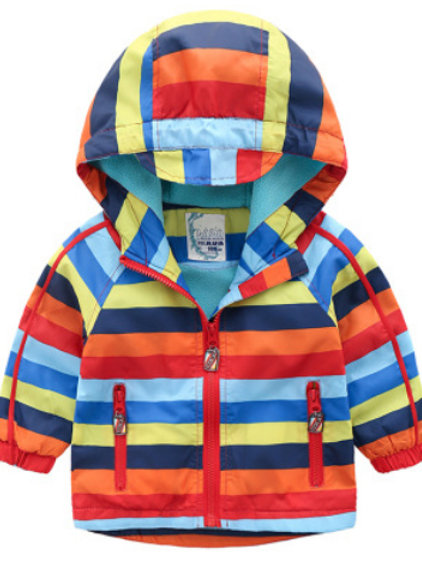 Colorful Stripe Fleece-Lined  Jacket