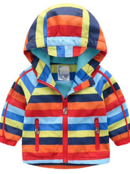 Colorful Stripe Fleece-Lined  Jacket