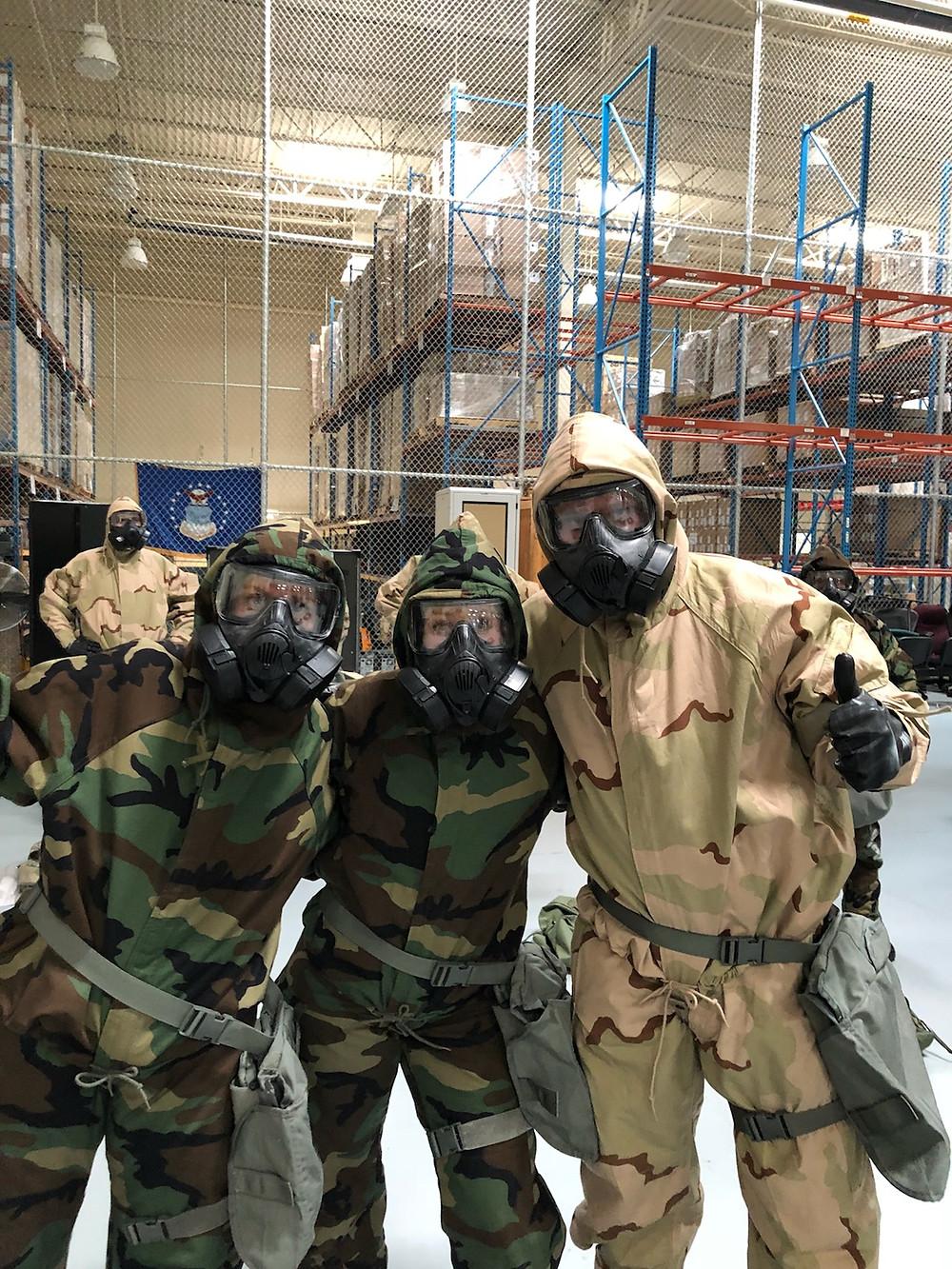 Dental team gas masks