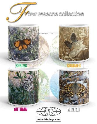 Four seasons printed 11oz white gloss mugs BOXED SET OF 4