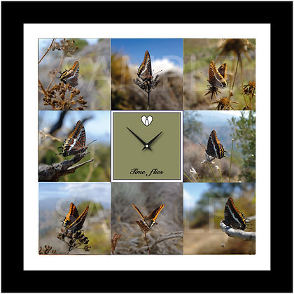 "24""x24"" 'TIME FLIES' butterfly wall clock-Two tailed pasha"