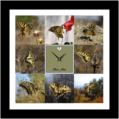 "18""x18"" 'TIME FLIES' Butterfly wall clock-Scarce Swallowtail"