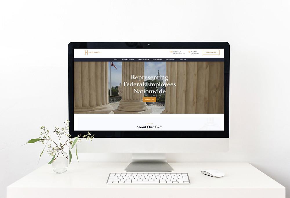 Desktop view of Hosea Legal - Wix Website - Christy Evans Design