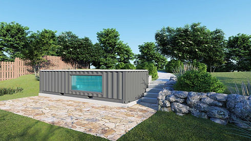 ContainUR Pools shipping container pool in client backyard