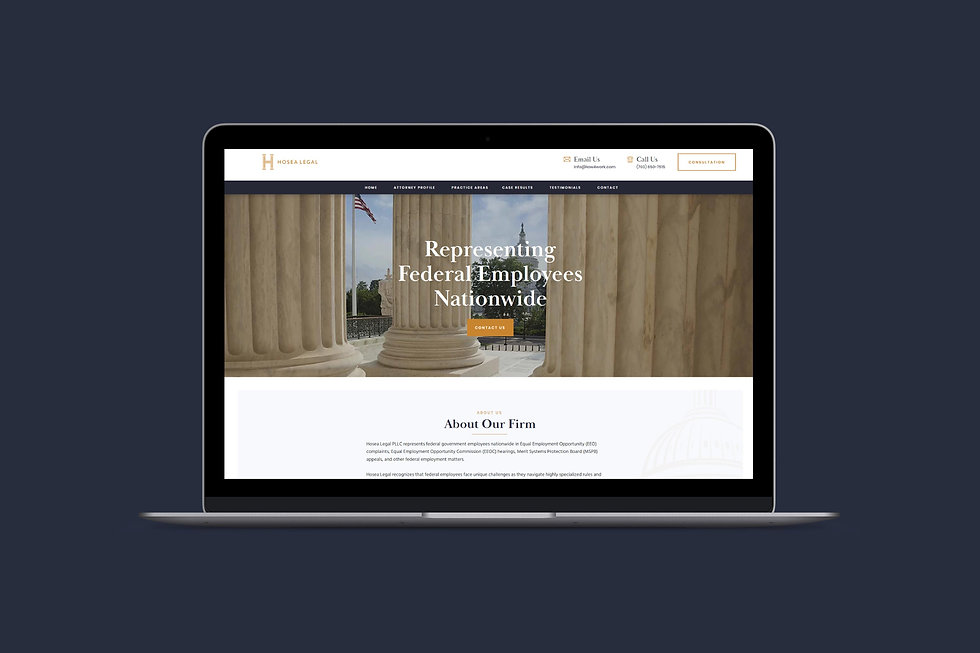 Laptop mockup of a Wix website for an attorney, Hosea Legal, by designer Christy Evans