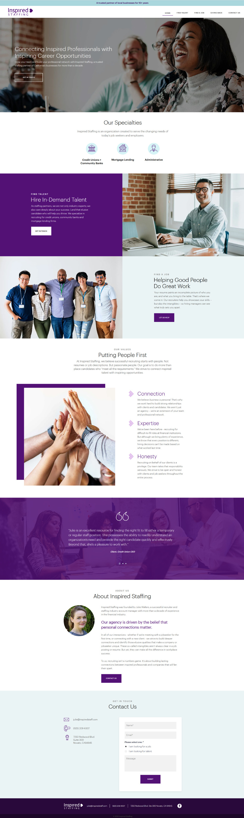 Home page of Inspired Staffing
