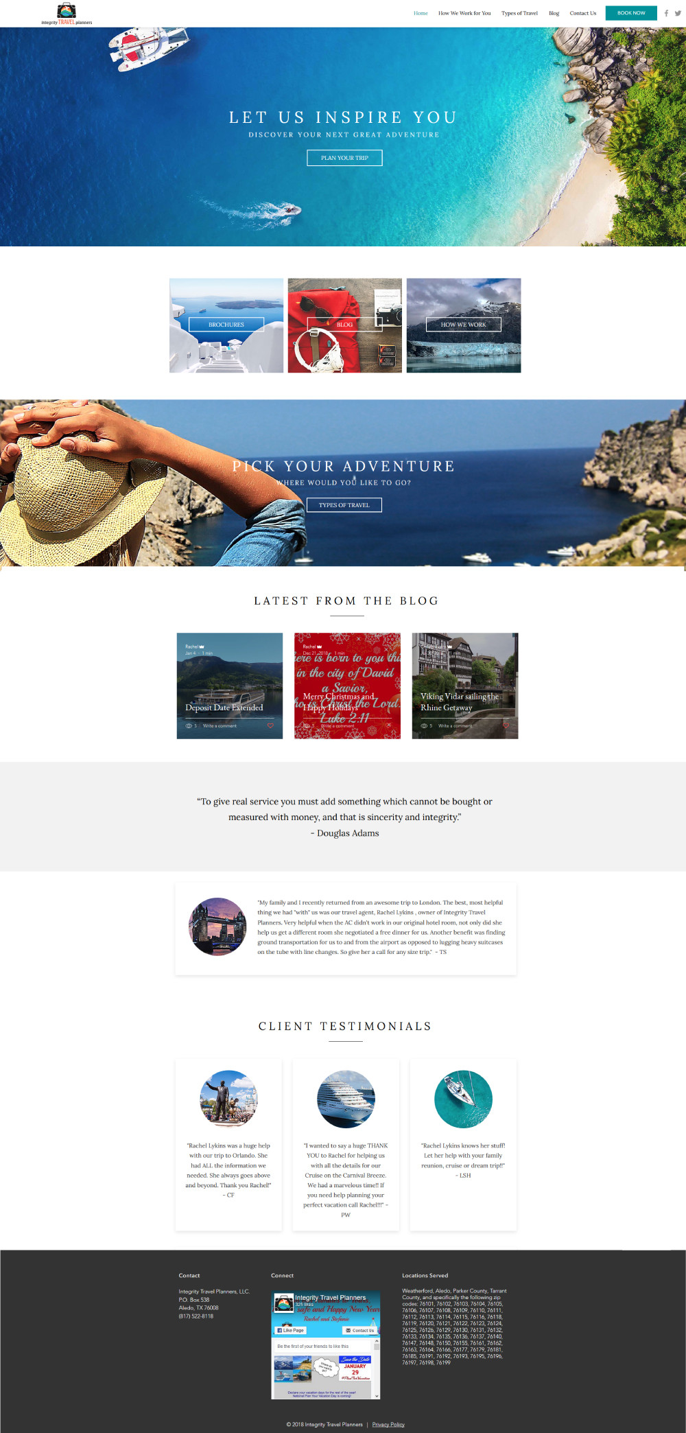 Home page view of Integrity Travel Planners - Wix Website - Christy Evans Design
