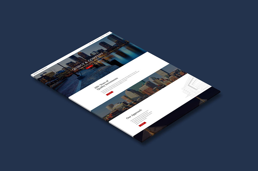 3D mockup of the home page of Quincy & Company, a commercial real estate investment firm, by Wix designer Christy Evans