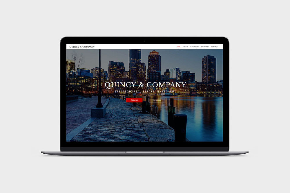 Laptop View of Quincy & Company - Wix Website - Christy Evans Design