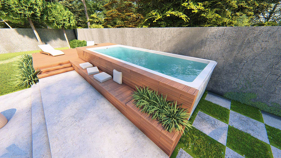 Containur Pools shipping container pool installed in a backyard with wooden paneling on the sides