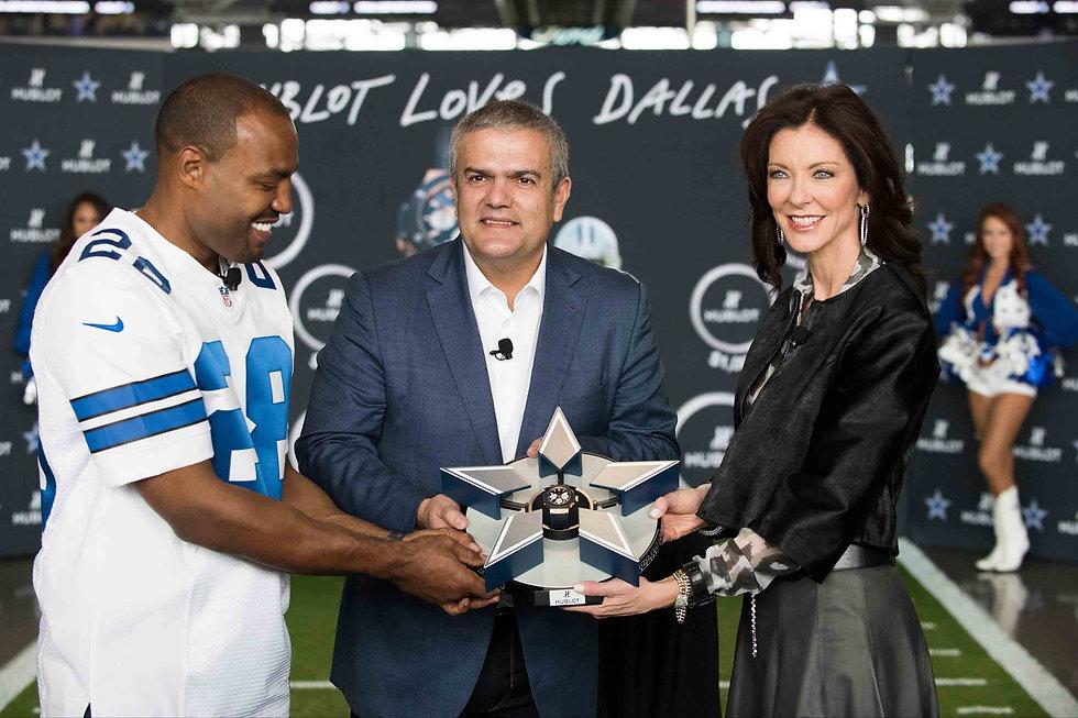 Darren Woodson, Ricardo Guadalupe and Charlotte Jones at Dallas Cowboys/Hublot event