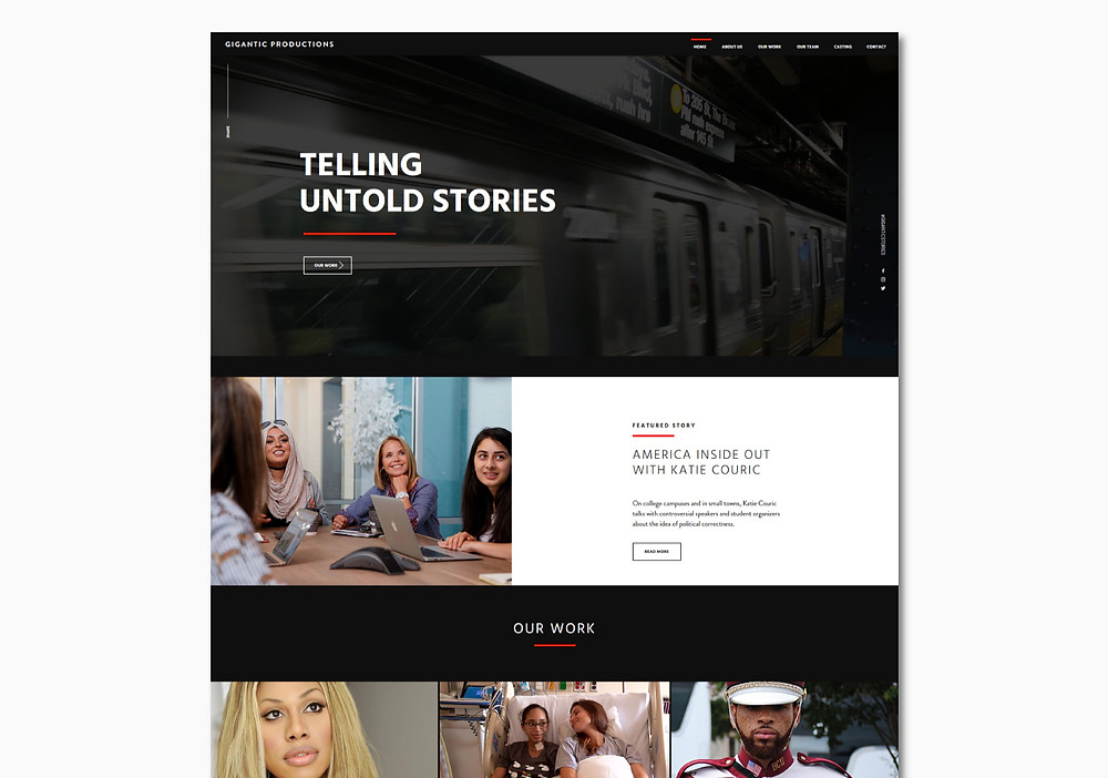Home page view of Gigantic Productions - Wix Website - Christy Evans Design