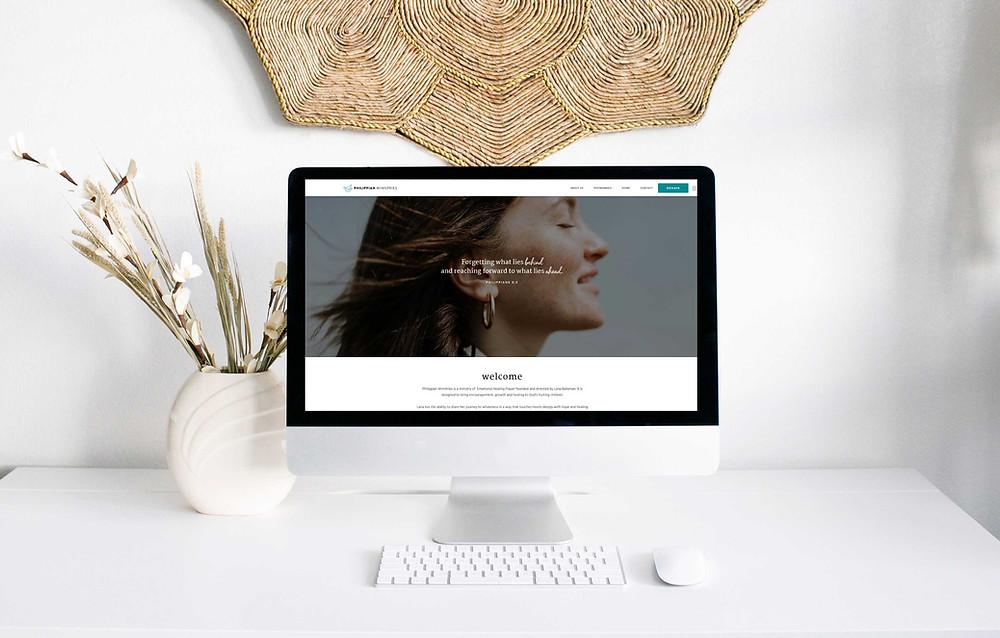 Home page mockup of Philippian Ministires website - Wix Website - Christy Evans Design