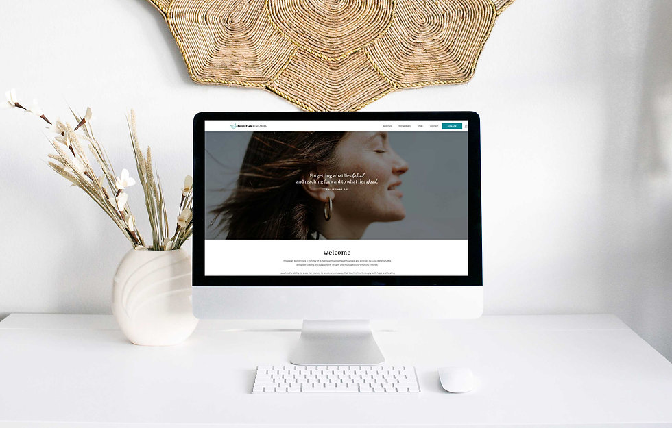 Mockup of ministry website by Wix designer Christy Evans