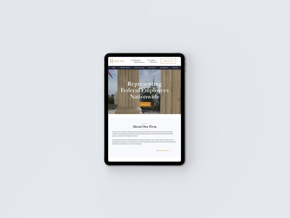 Tablet view of Hosea Legal - Wix Website - Christy Evans Design