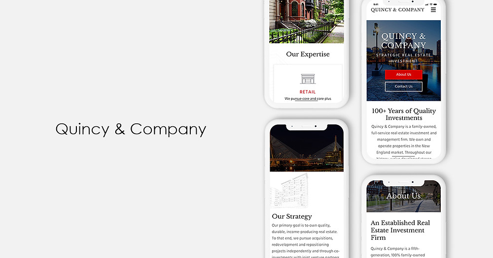 Mobile view of Quincy & Company Website - Wix Website - Christy Evans Desgin