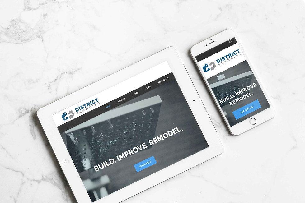 Tablet and mobile phone mockup for a plumbing services Wix website by Christy Evans