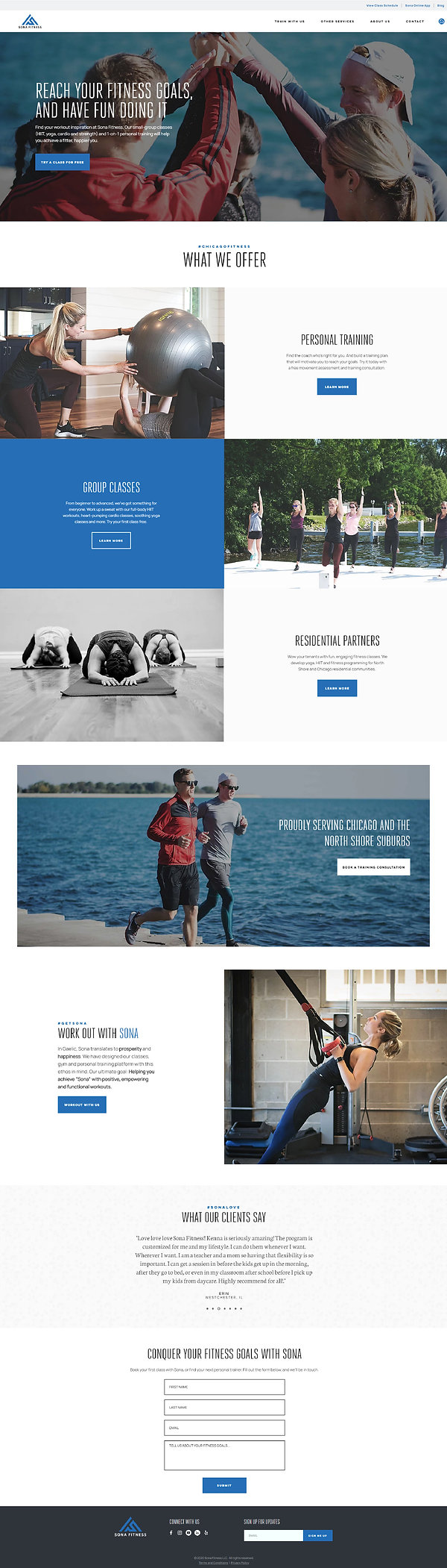 Home page of a Wix website for Chicago gym and personal training, Sona Fitness, designed by Christy Evans