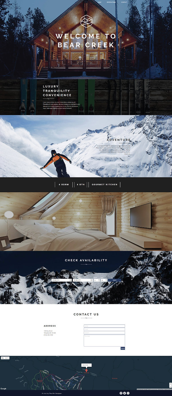 Home page of a Wix travel and vacation rental website for designed by Christy Evans
