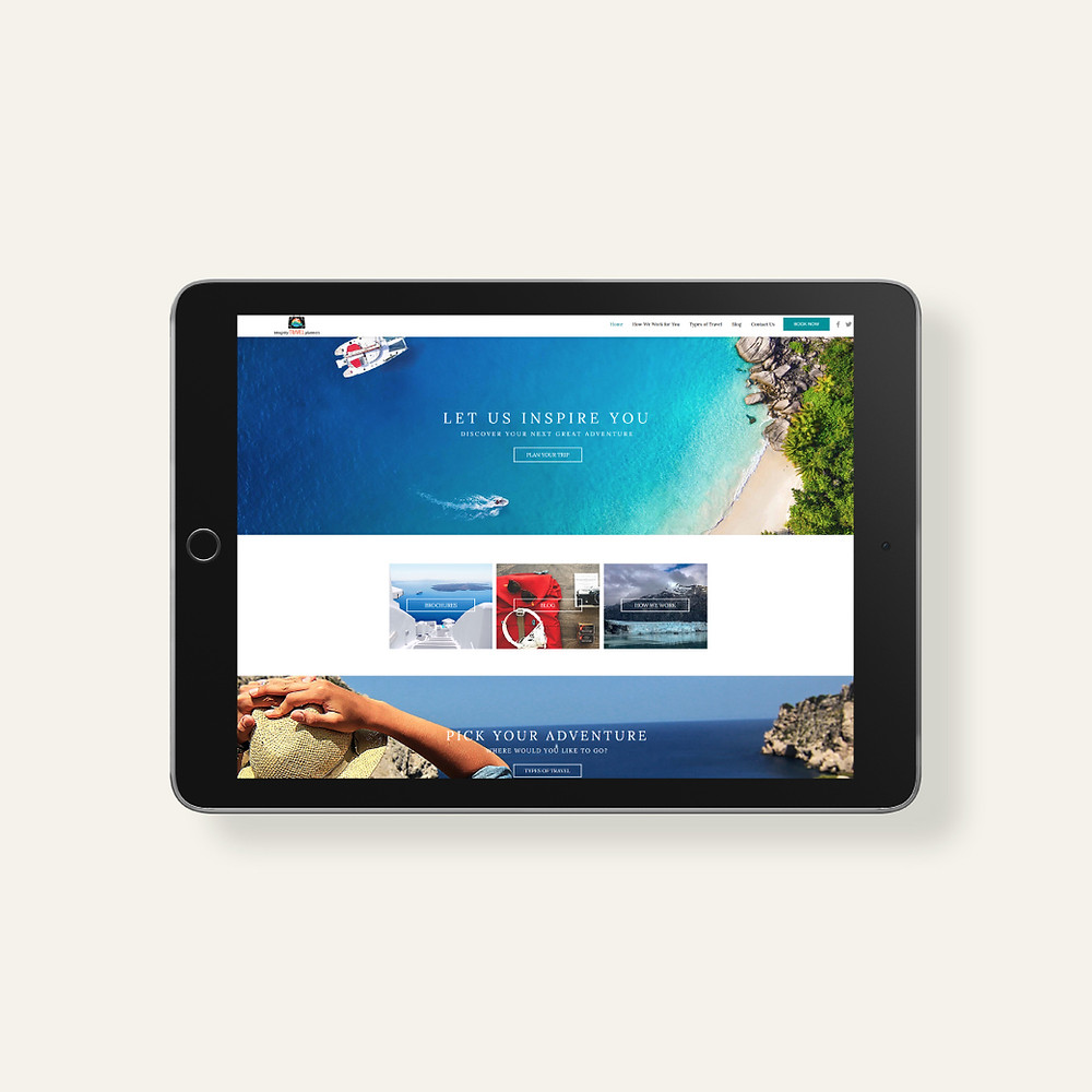 Tablet view of Integrity Travel Planners - Wix Website - Christy Evans Design