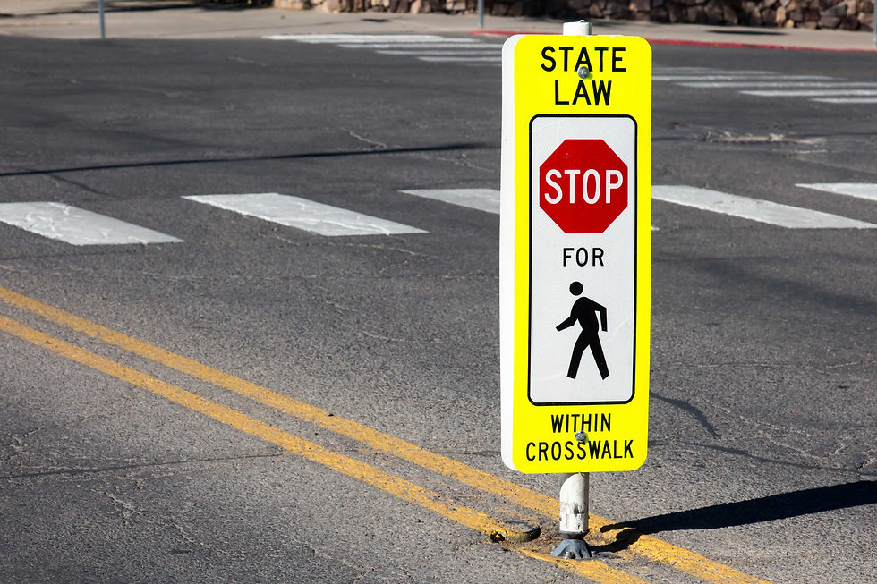State law stop for pedestrians in crosswalk sign