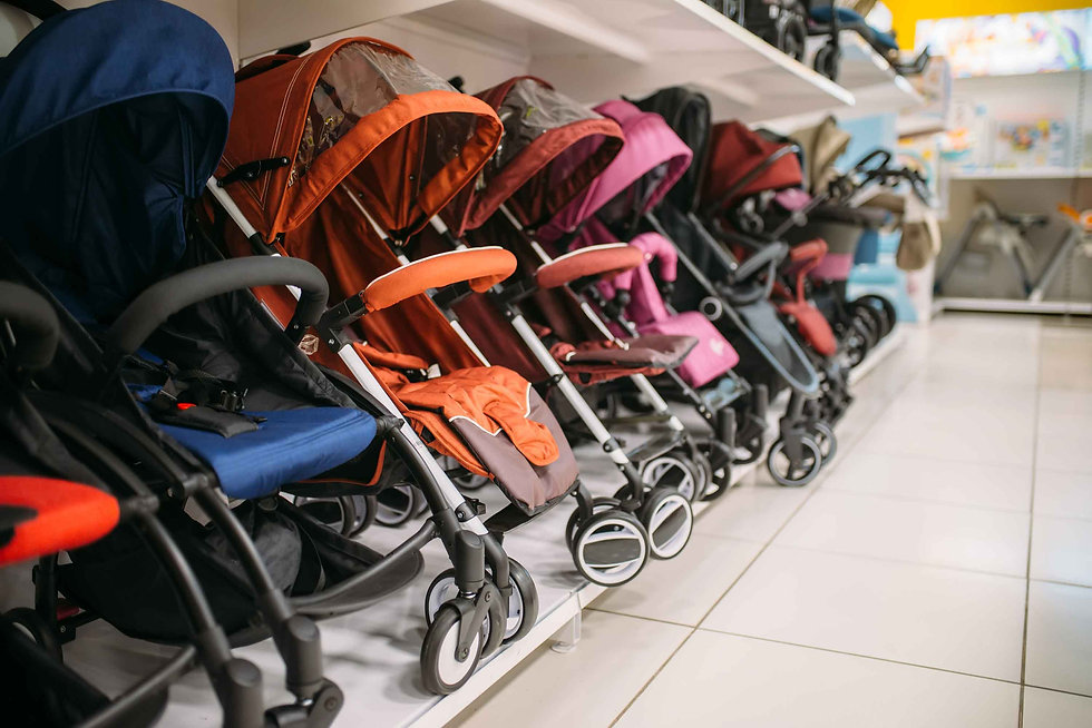 Row of baby strollers in store